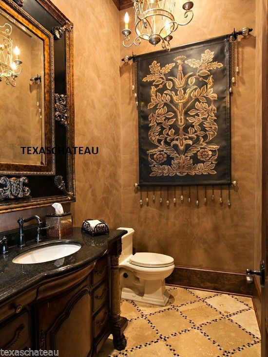 Huge Old World Tuscan French Fleur De Lis Bath Bathroom