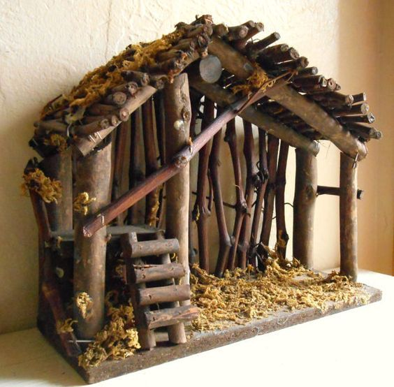 Vintage Wood Manger for Christmas Nativity Scene Empty Natividad