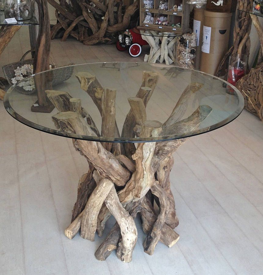 Natural Round Driftwood Dining Table Base By Karen Miller Devon