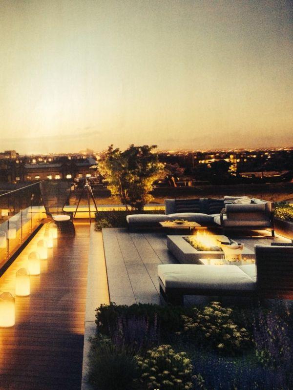 Moderne Terrassengestaltung – 100 Bilder und kreative Einfälle - dachterrasse gestalten originelle beleuchtung sitzecke