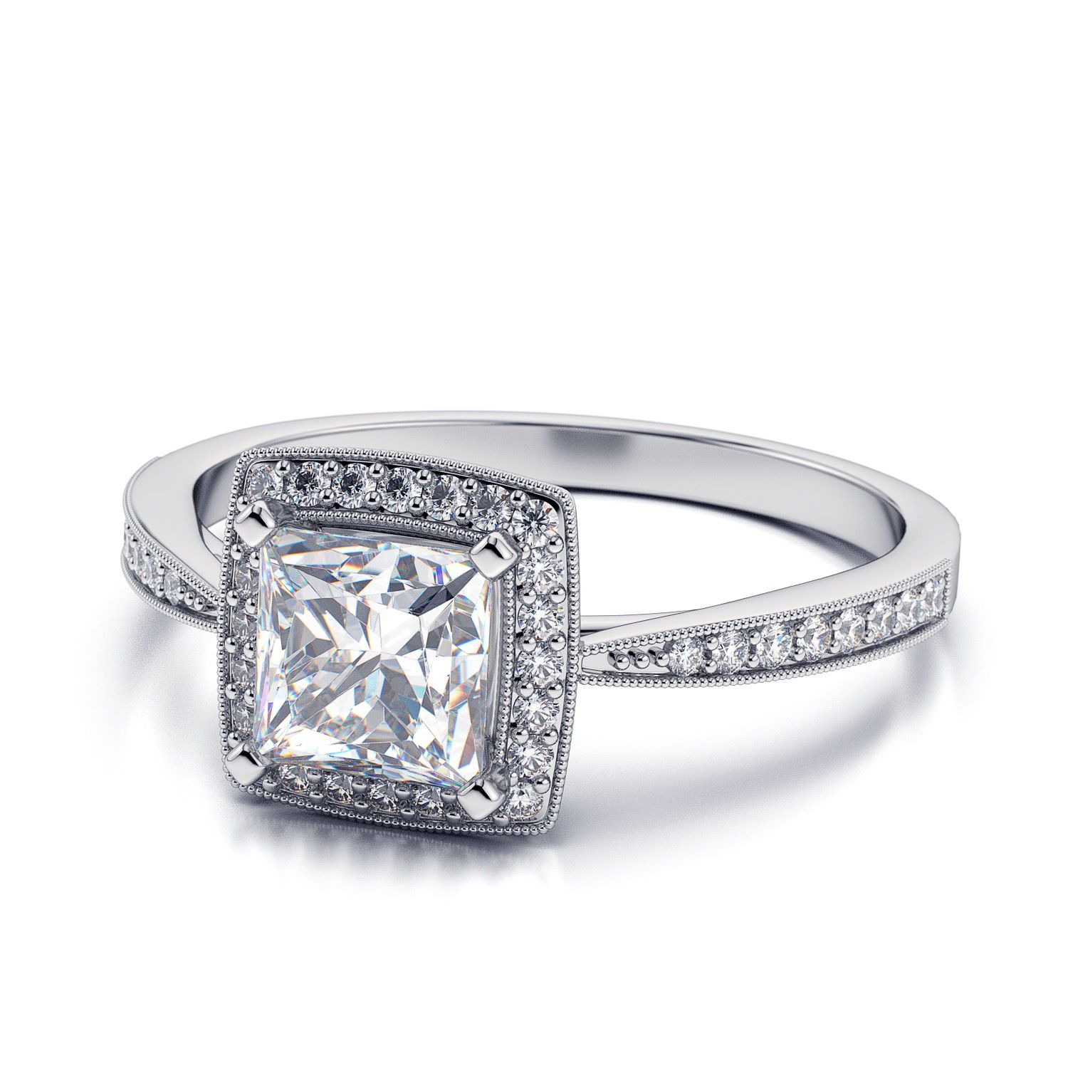 princess cut vintage halo engagement rings www pixshark