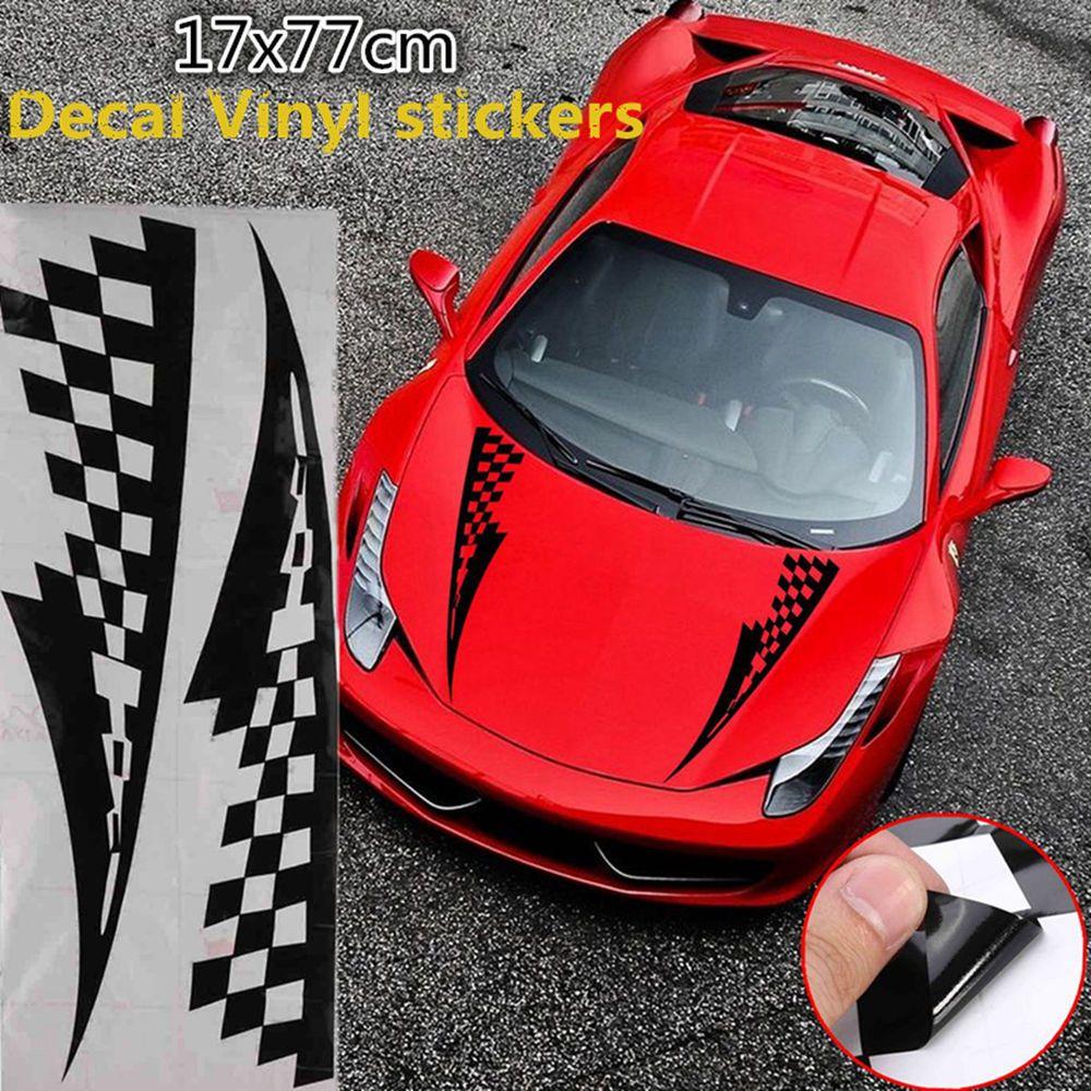 17x77cm Black Car Decal Vinyl Graphics Stickers Hood Checkered Flags Stripe Unbrandedgeneric Car Decals Vinyl Vinyl Graphics Black Car [ 1000 x 1000 Pixel ]