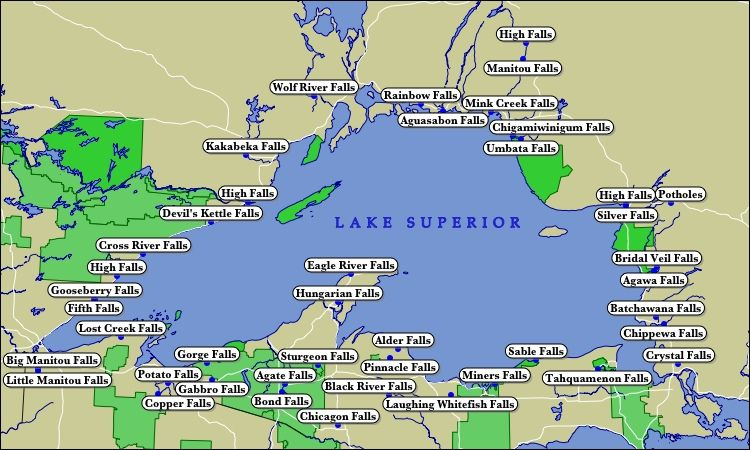 Map Of Lake Superior Map of Lake Superior WaterFalls | places to visit in 2019 | Lake