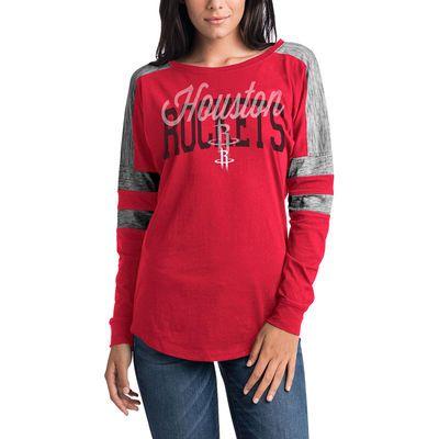 Women s Houston Rockets 5th   Ocean by New Era Red Space Dye Baby Jersey  Long Sleeve 46033ea7b