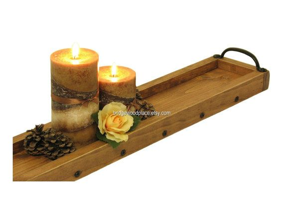 Long Wooden Tray Summer Centerpiece For Table Dining Table Etsy Wooden Tray Wooden Candle Tray Long Wood Table