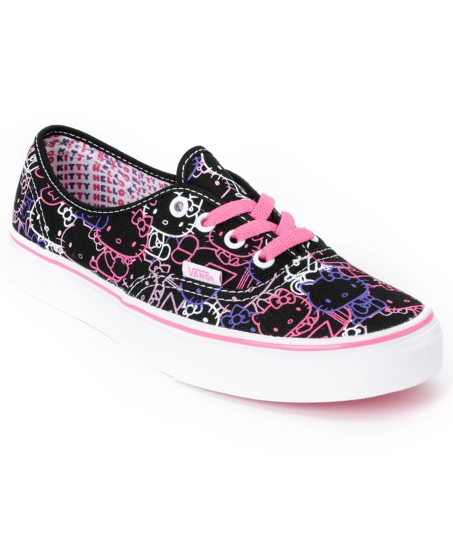 4b855e3610 Hello Kitty Vans Passion Flower Pink Girls Authentic Shoe