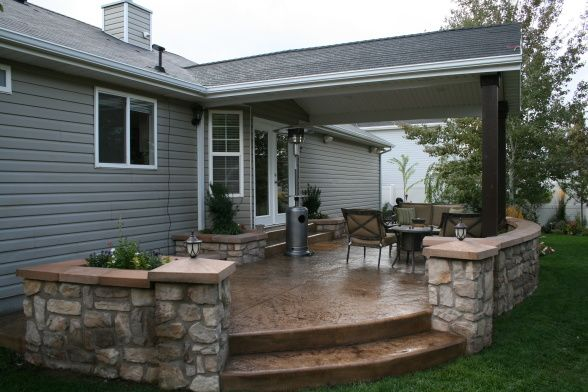 Great Concrete Patio Covering Ideas An Larger Version Of The Rounded Deck Stepping Down To Stone