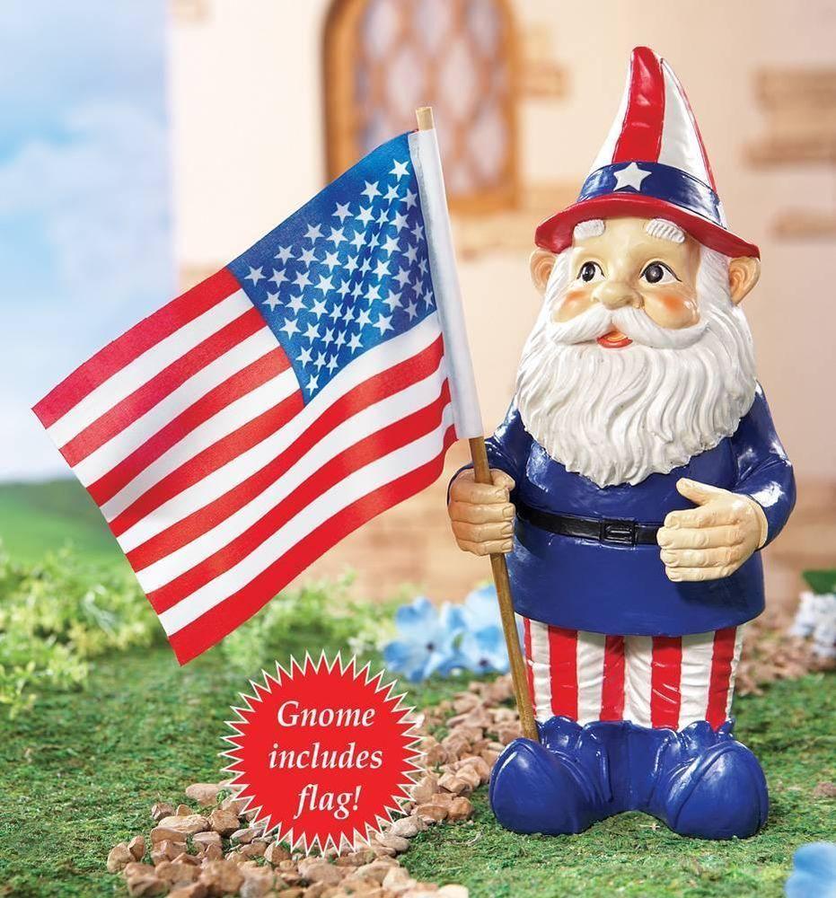 Superior Adorable Patriotic American Gnome With USA Flag Garden Statue Scupture Yard  Art