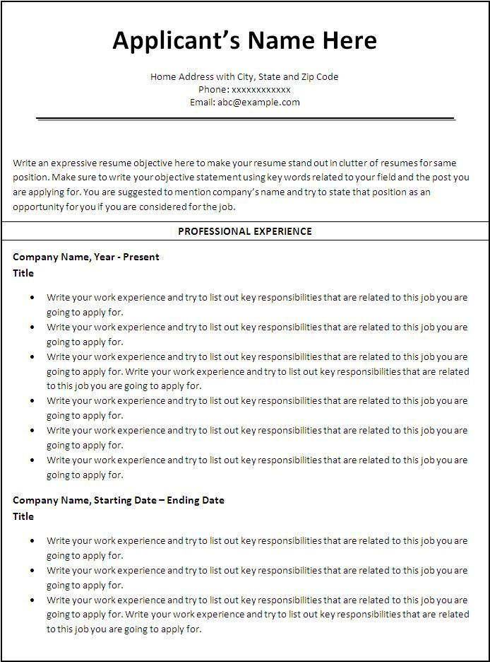 Simple Resume Template Chronological Order Resume Template - Simple