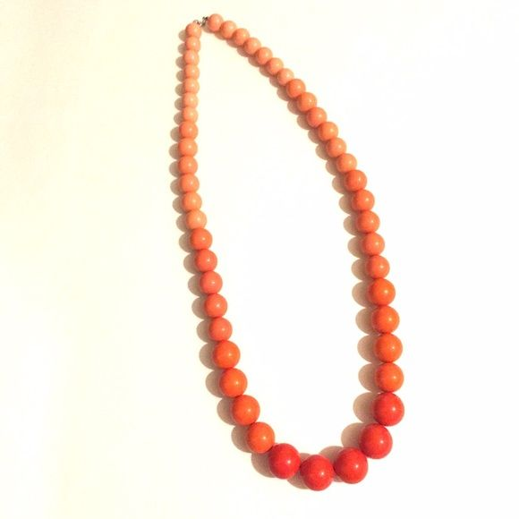 "Big Beads! Statement Necklace Bold beads in shades of orange/pink. 36"" long Boutique Jewelry Necklaces"