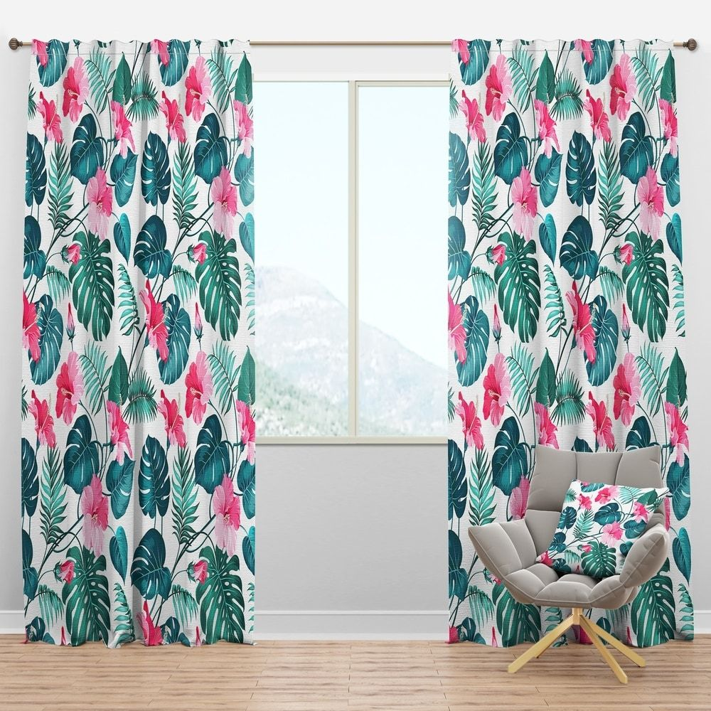 Designart Blossom Flowers Tropical Curtain Panels 52 In Wide X
