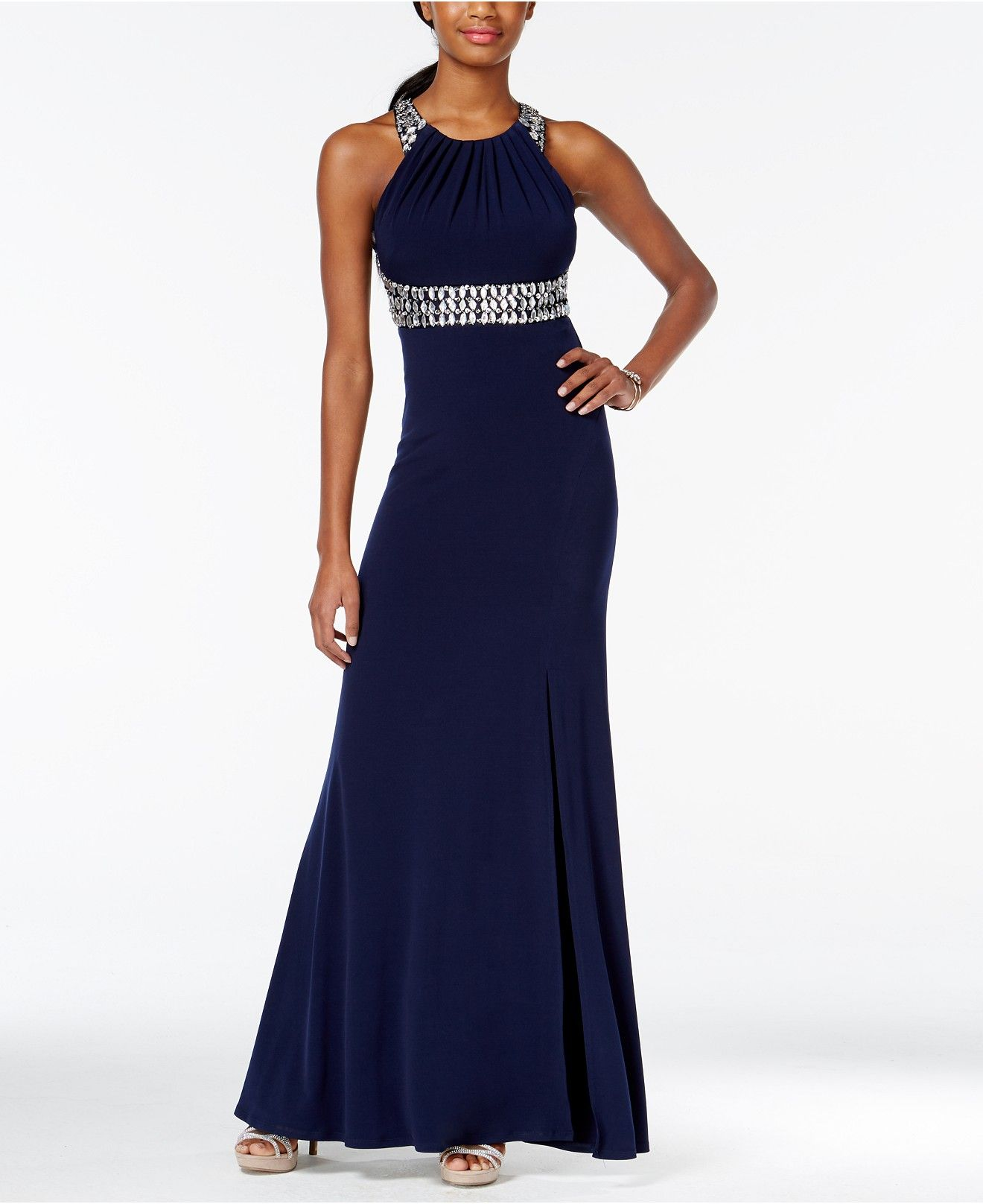 Sequin Hearts Juniors' Bejeweled Ruched Mermaid Gown with Side Slit - Juniors Prom Preview - Macy's