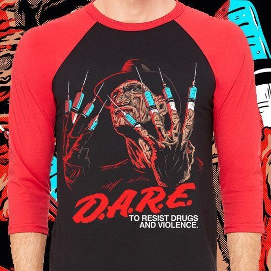 9271315857e Freddy Krueger A Nightmare On Elm Street Raglan T Shirt Dare Horror Graphic  New