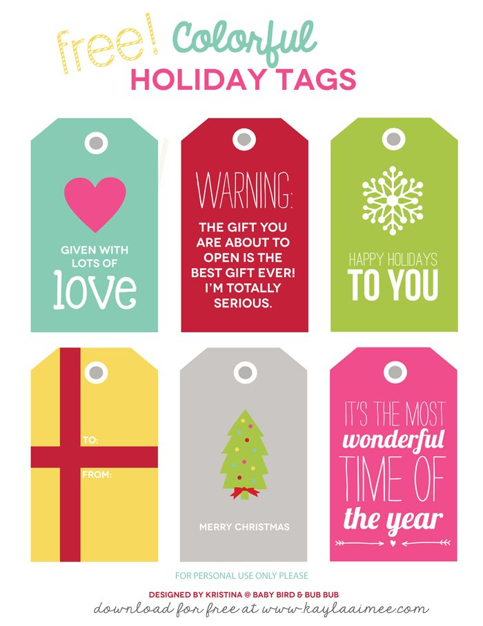 Free Printable Colorful Christmas Gift Tags