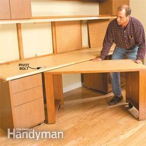 how to build a home office sewing tables pinterest bureau atelier et maison. Black Bedroom Furniture Sets. Home Design Ideas