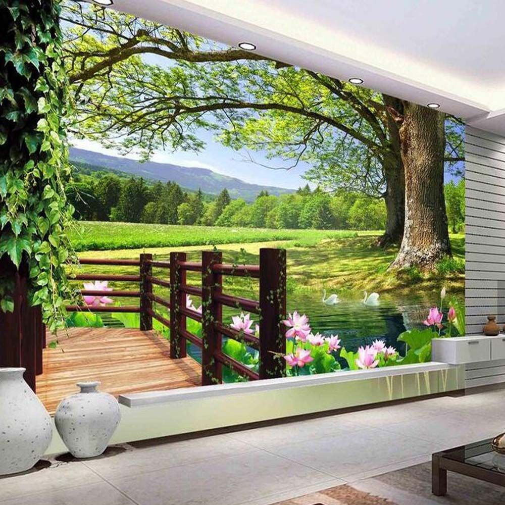 Find More Wallpapers Information About 3d Modern Green Tree Flower Photo Mural Wallpaper For Living Room Restaurant Wall Murals 3d Wall Murals Mural Wallpaper