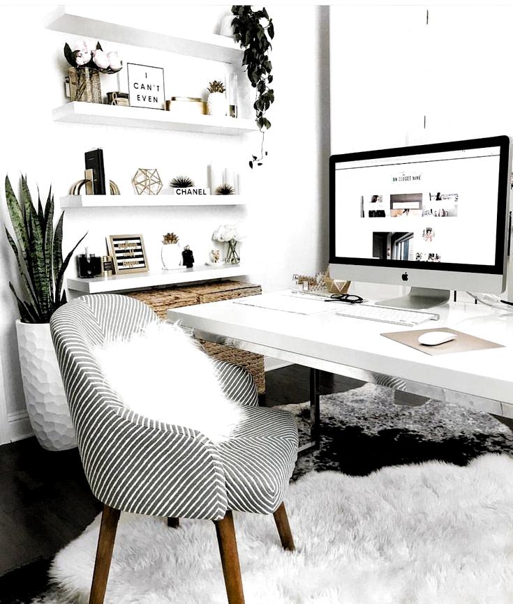 White Desk Designs for Minimalist Home Office - Office Desk - Ideas of Office Desk #OfficeDesk -  Best White Desk Design...