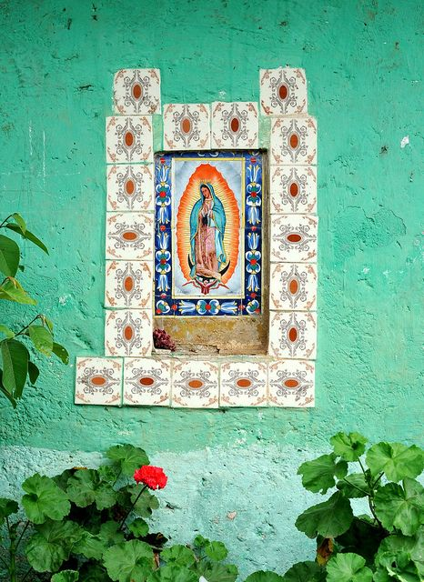 A beautiful wall contains a loving tribute to the Virgen de Guadalupe. Near Tenancingo, state of Mexico, Mexico.