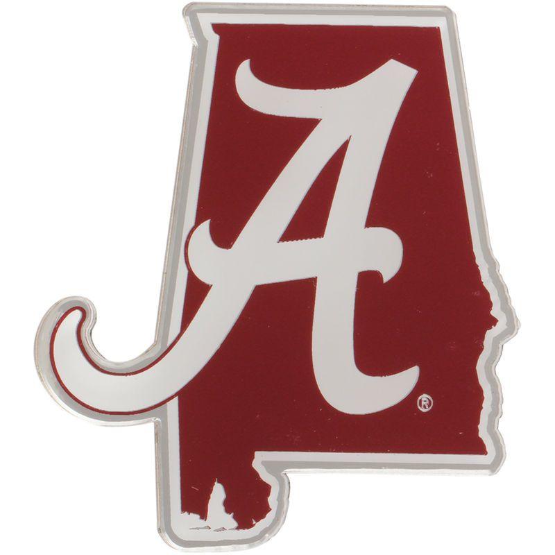 Alabama Crimson Tide State Shape Acrylic Metallic Auto Emblem