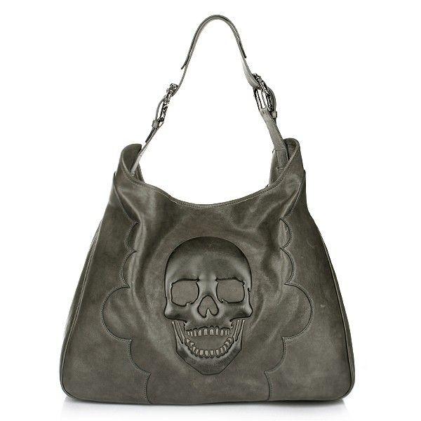 Philipp Plein Schwarz Bag Leder Handtasche Skull Shopper
