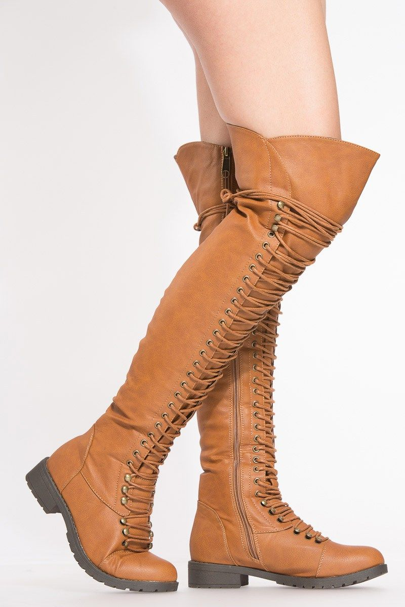 c2b5f2a253f Tan Faux Leather Thigh High Combat boots
