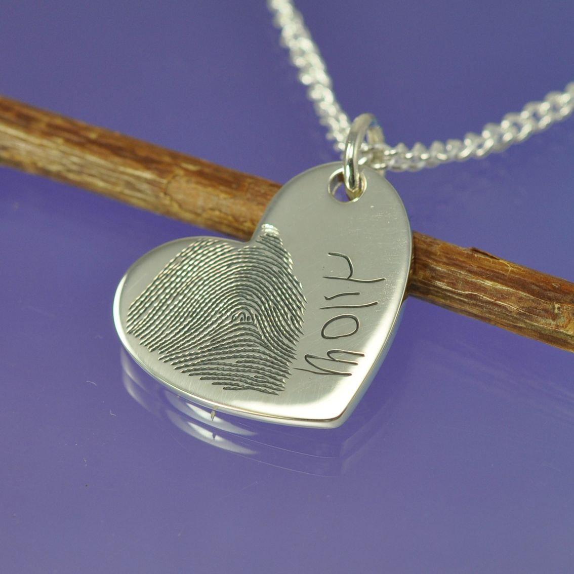 necklace fingerprint oxidized fine silver small heart