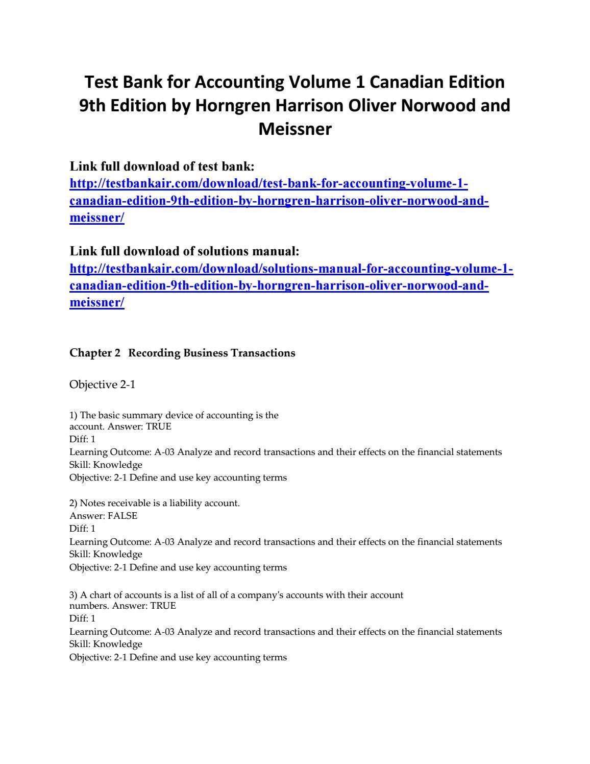 Test bank for accounting volume 1 canadian edition 9th edition by horngren  harrison oliver norwood a