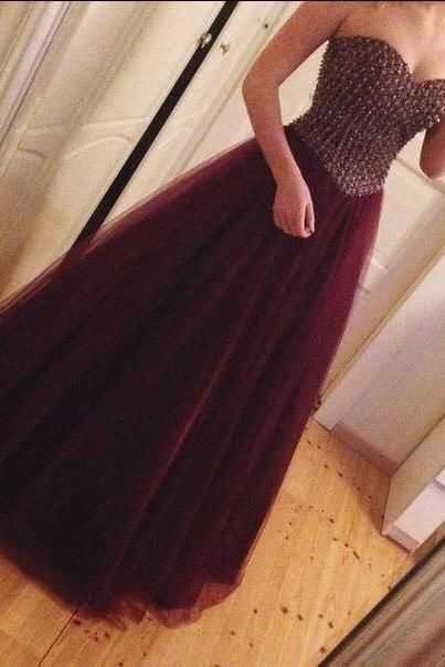 Tulle Burgundy Beaded A Line Prom Gown evening gowns