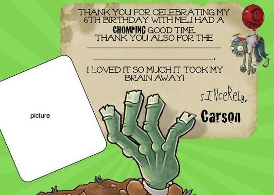 Plants Vs Zombies Birthday Photo Invites Templates Plants Vs Zombies Pvz Thank You Card By Ckfireboots On Etsy Tarjeta De Cumple Plants Vs Zombies Tarjetas