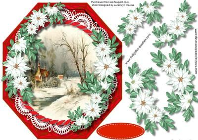 Beautiful Red Octagonal with White poinsettias  on Craftsuprint - Add To Basket!