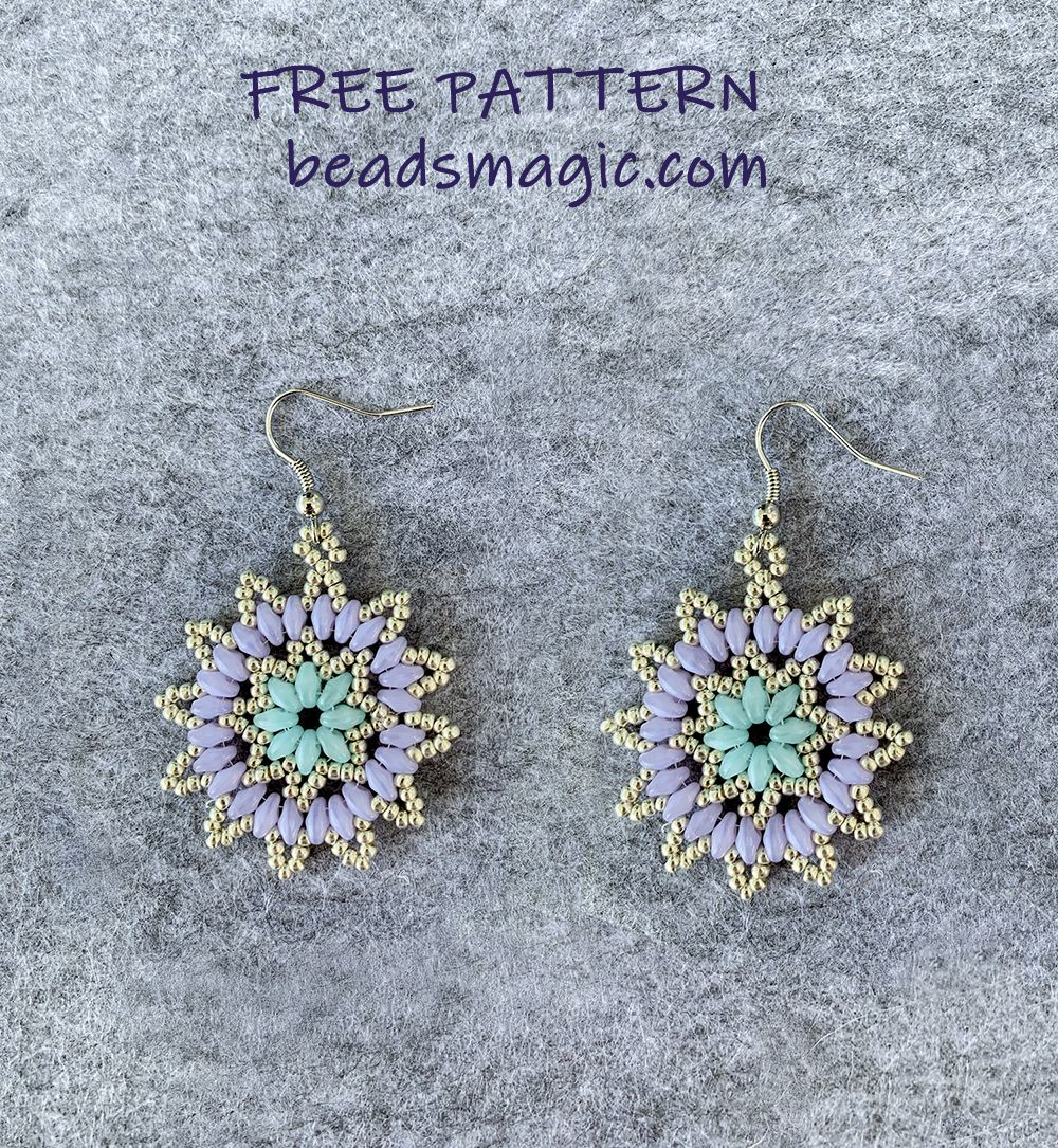 Free pattern for earrings Tenderness bead tutorial, superduo, beadwork, beadsmagic