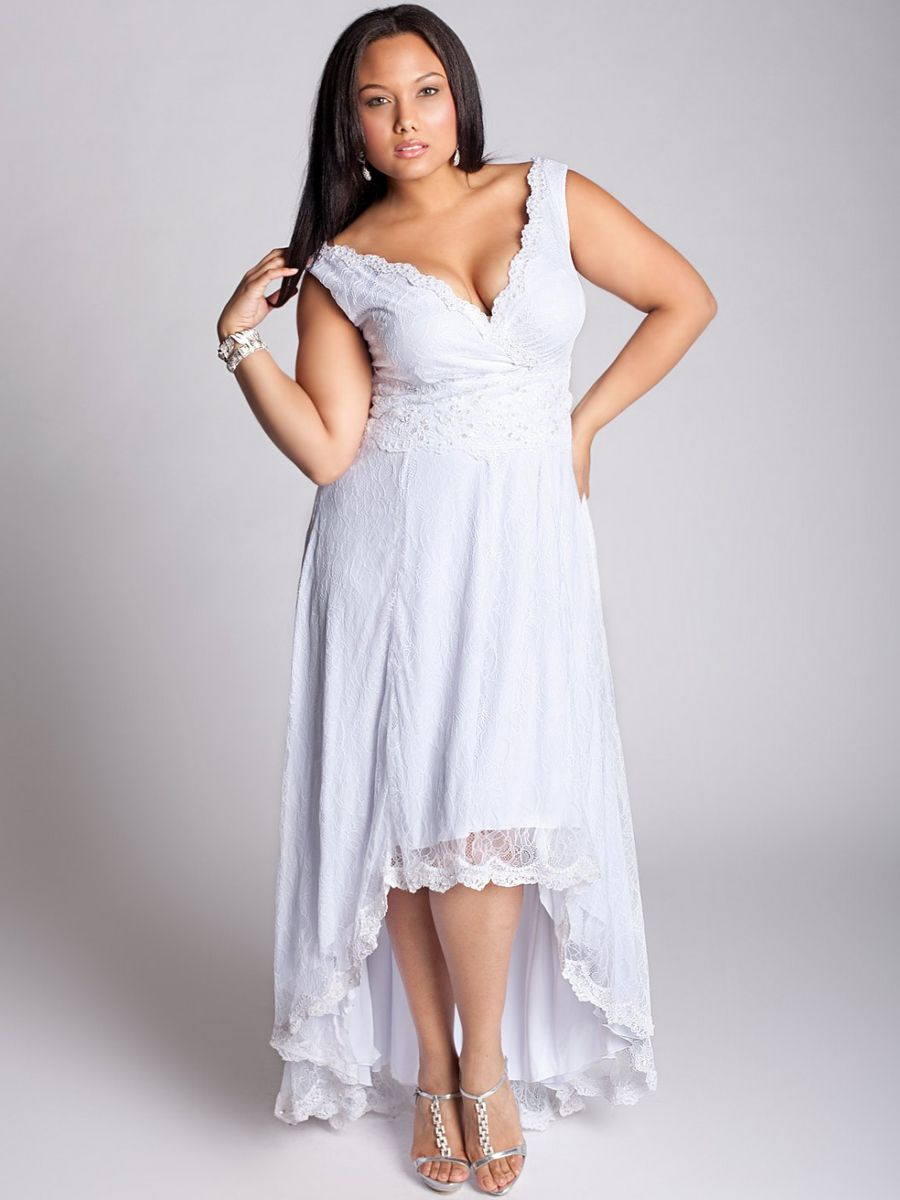 Plus size white dress - Plus Size Off The Shoulder High Low Train White Lace Full Wrap