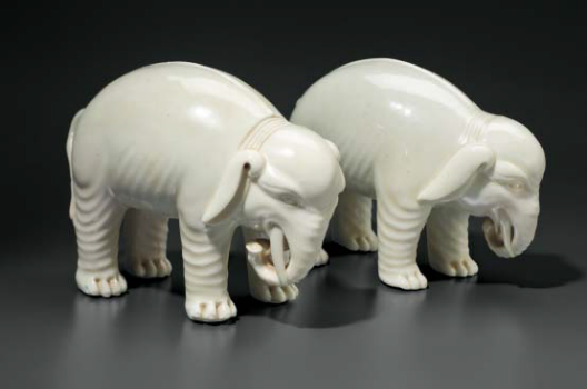 A pair of Dehua figures of elephants, China, Qing dynasty, 18th-19th century