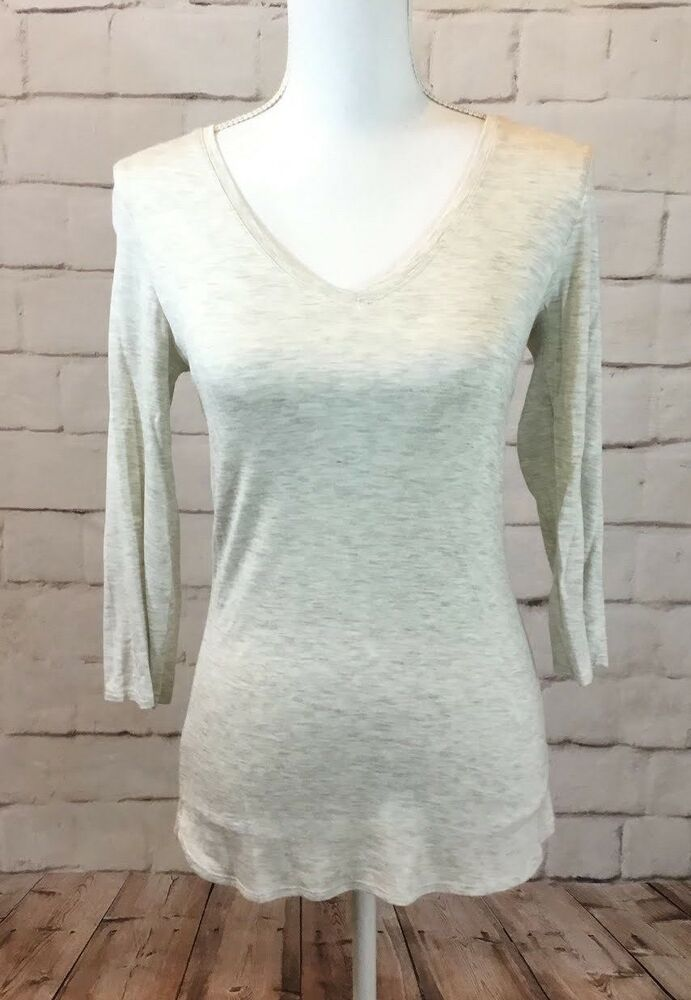 2494b51400d72 Nwt Max Studio Women s Oatmeal Marled Long Sleeve V Neck Basic Tee Size S   MaxStudio  Blouse
