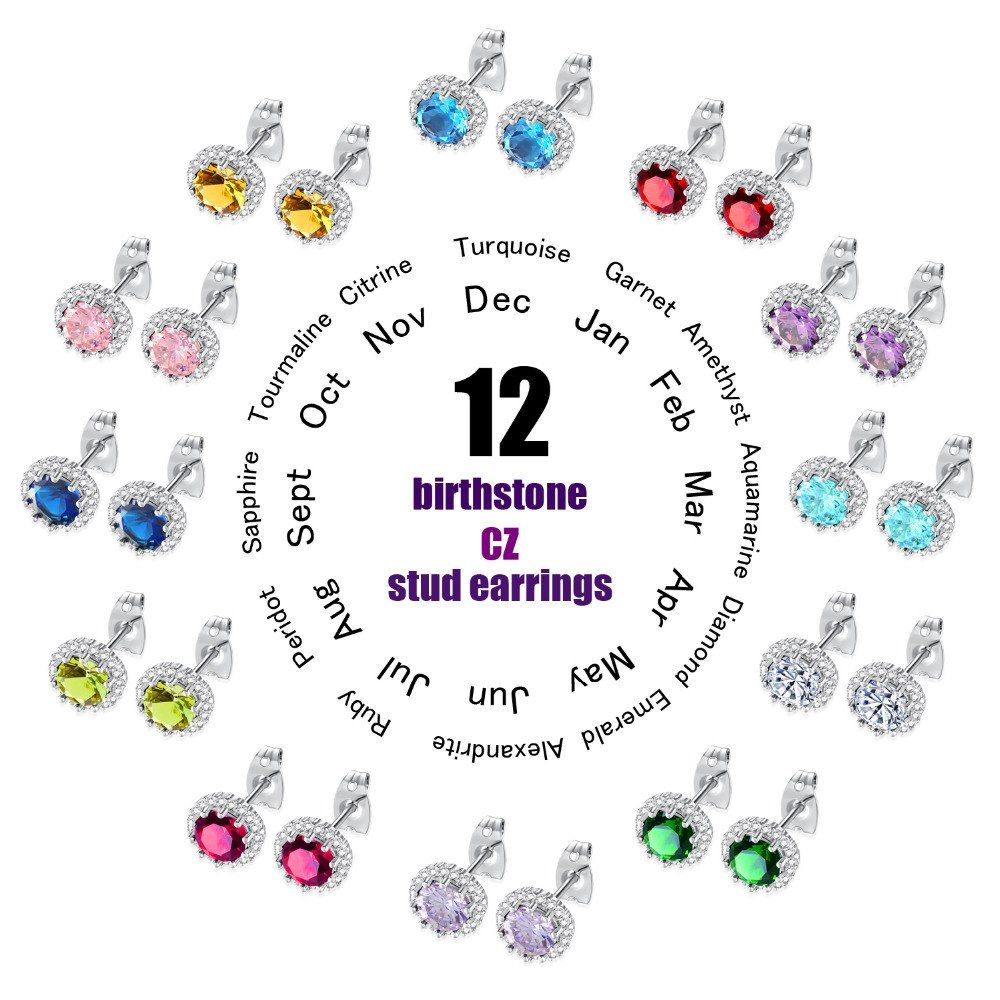 Classic Birthstone Stud Earring For Women Dazzle Aaa Cubic