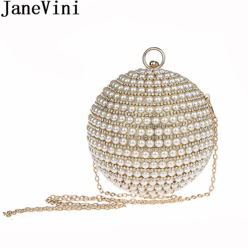 JaneVini New Designer Women Evening Bag Pearls Gold Silver Beaded Ball  Shoulder Bag Round Handbag Wedding Party Chain Bag 2018 540212c9a5dc