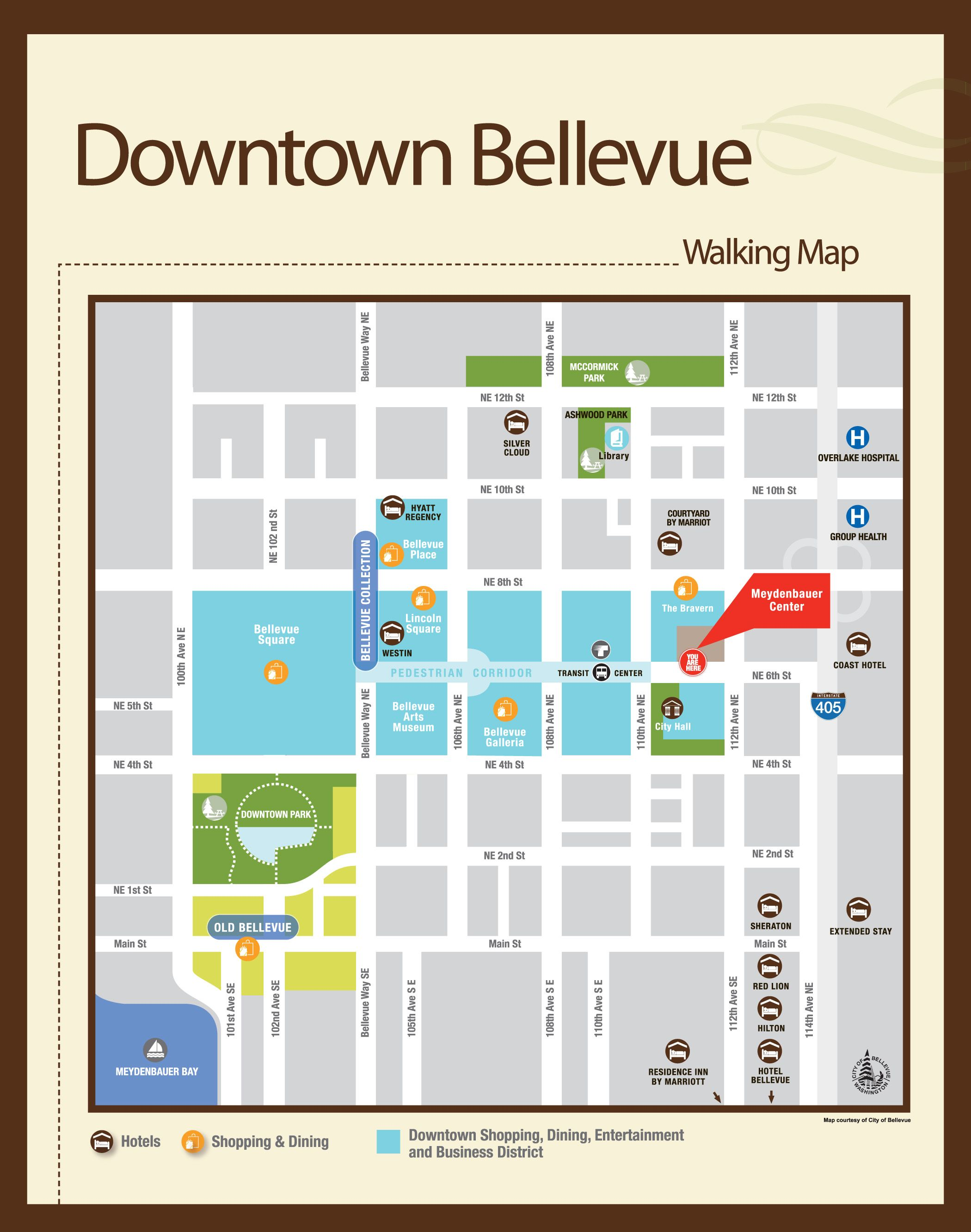 Walking map of Bellevue | Visit Bellevue Washington | Bellevue ... on