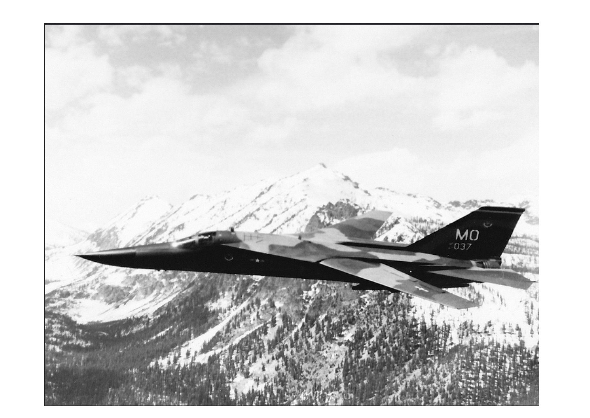 389FS F-111A over Sawtooth Mountains, Idaho