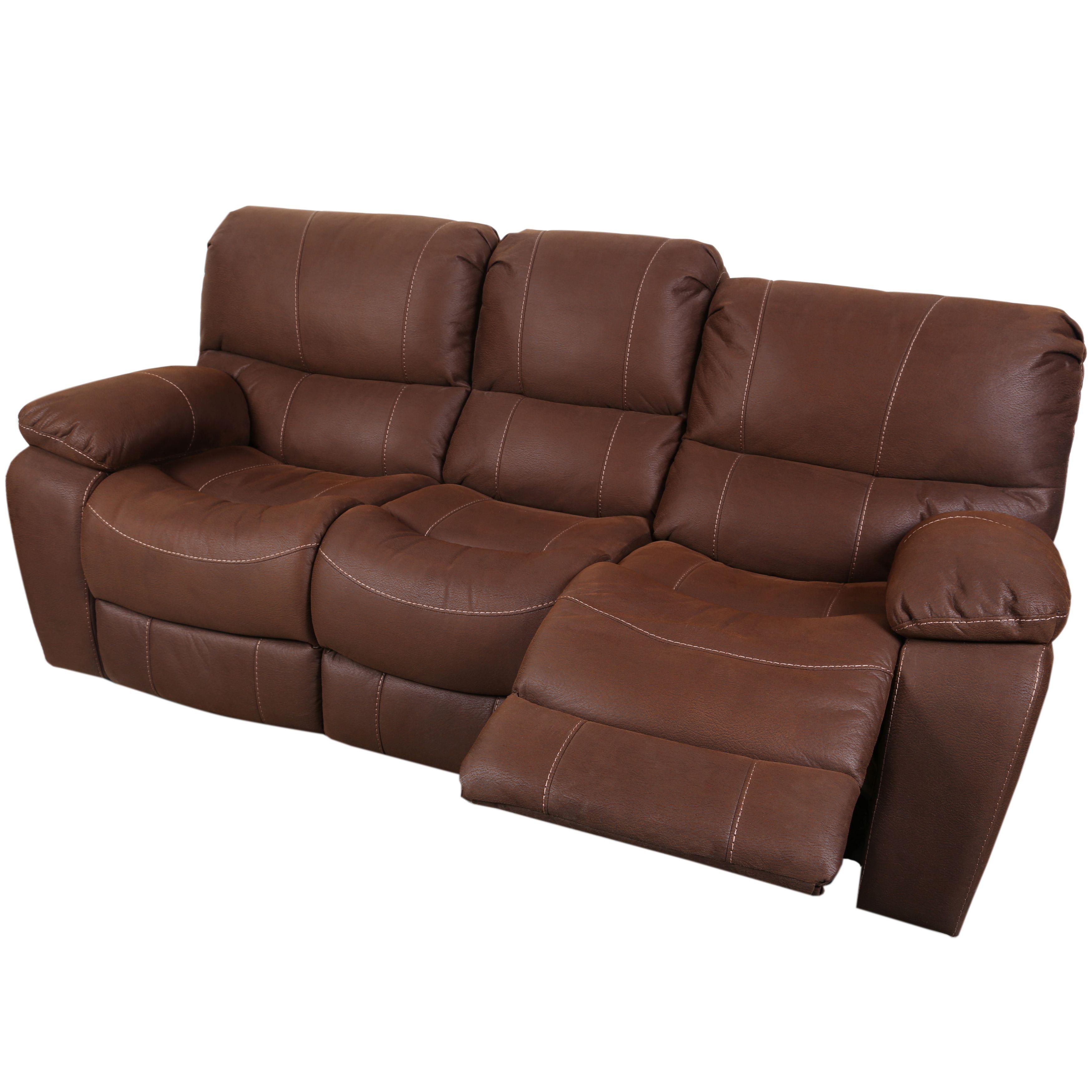Sofa Sale Porter Ramsey Brown Embossed Microfiber Dual Reclining Sofa by Porter International Designs