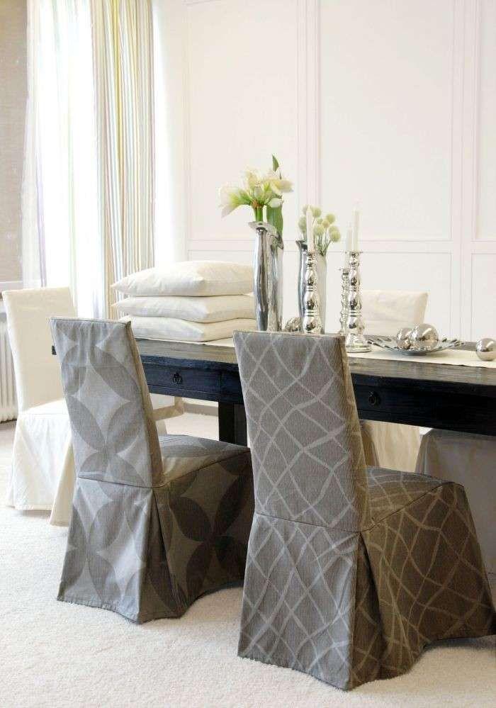 Arredare con i tessuti - Coprisedie fantasia | Chair covers, Diy ...