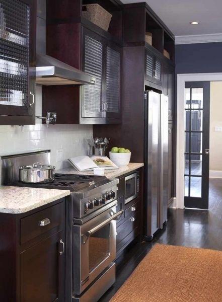 Espresso Stained Kitchen Cabinets With White Granite And Dark