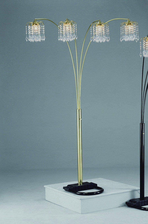 Gold Rain Drop Arc Floor Lamp 91''H by Crown Mark Arc