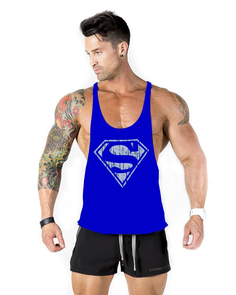 6704a593e63c3 Superman gym vest cotton tank top bodybuilding and fitness clothing men  Sleeveless tops