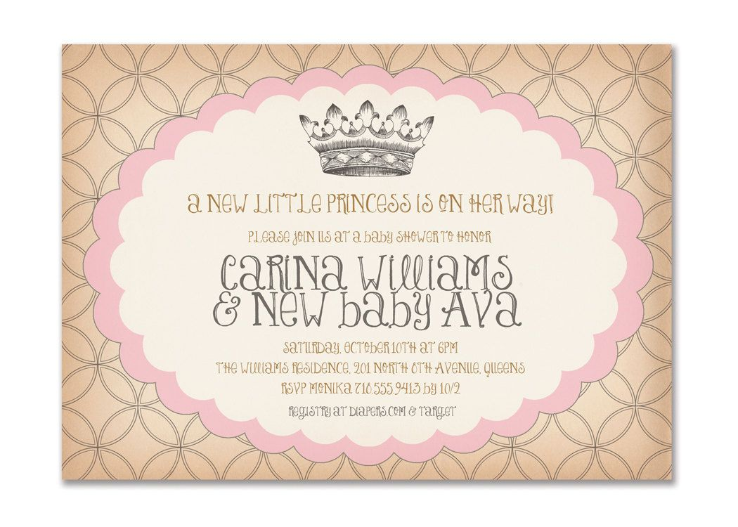 Vintage Princess Baby Shower Invitation Birthday Surprise Party Pink ...