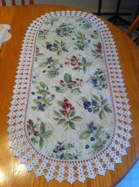 "Aunt Roo's Strawberries, Blueberries, Cherries fabric table runner w/ crocheted edging (17-1/2"" X 34-3/4"" wide)"