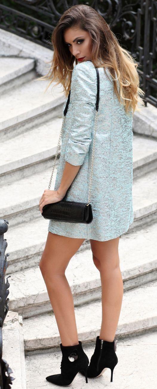 #spring #fashion #outfitideas |Bright Blue Blazer Dress + Pop Of Black |Postolatieva                                                                             Source