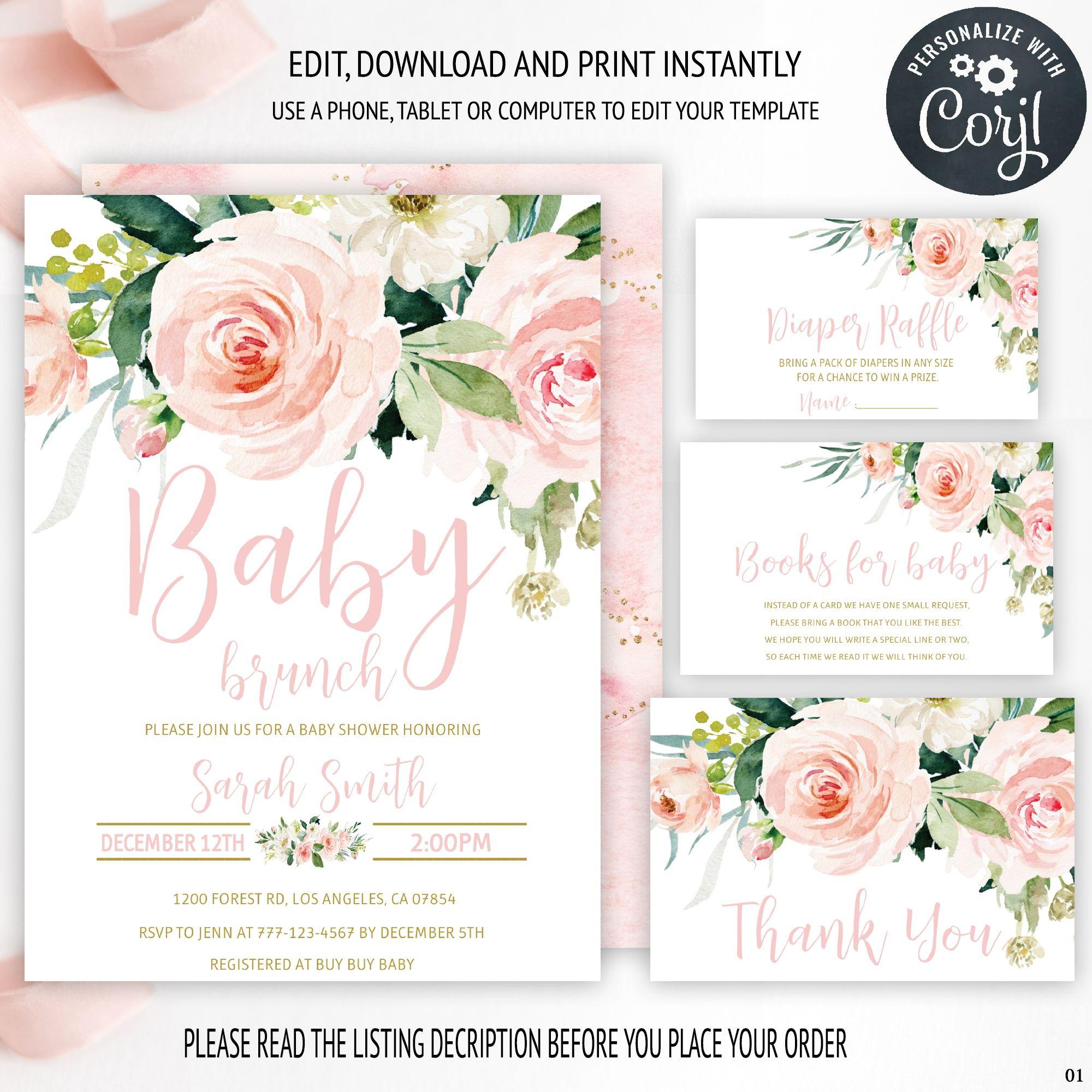 Fall Pumpkin Baby Shower Invitation Bundle Printable Baby Shower Invitation Template Corjl EDITABLE Invitation Autumn Baby Girl