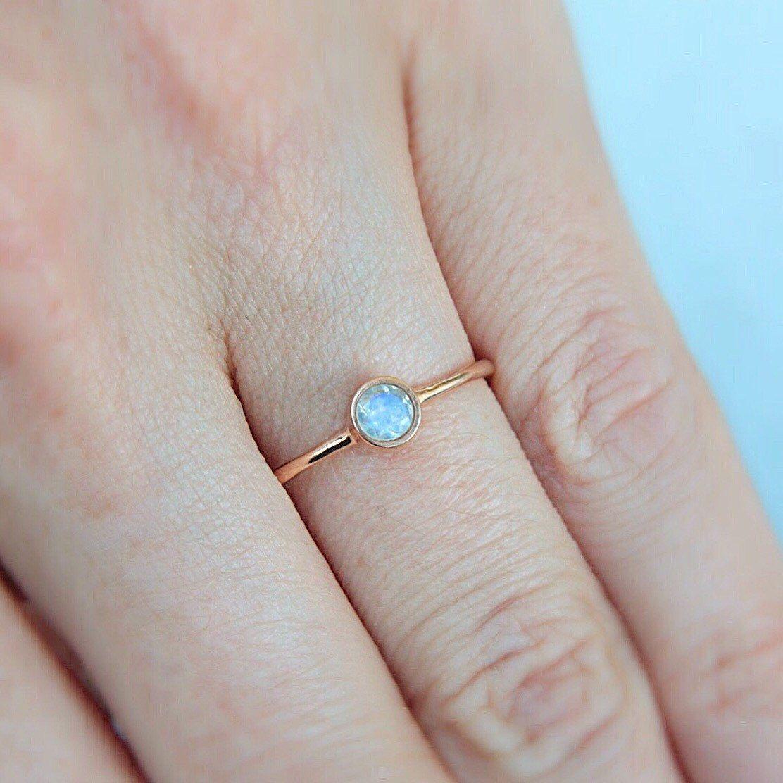 Rose gold moonstone ring k gold natural moonstone rose gold ring