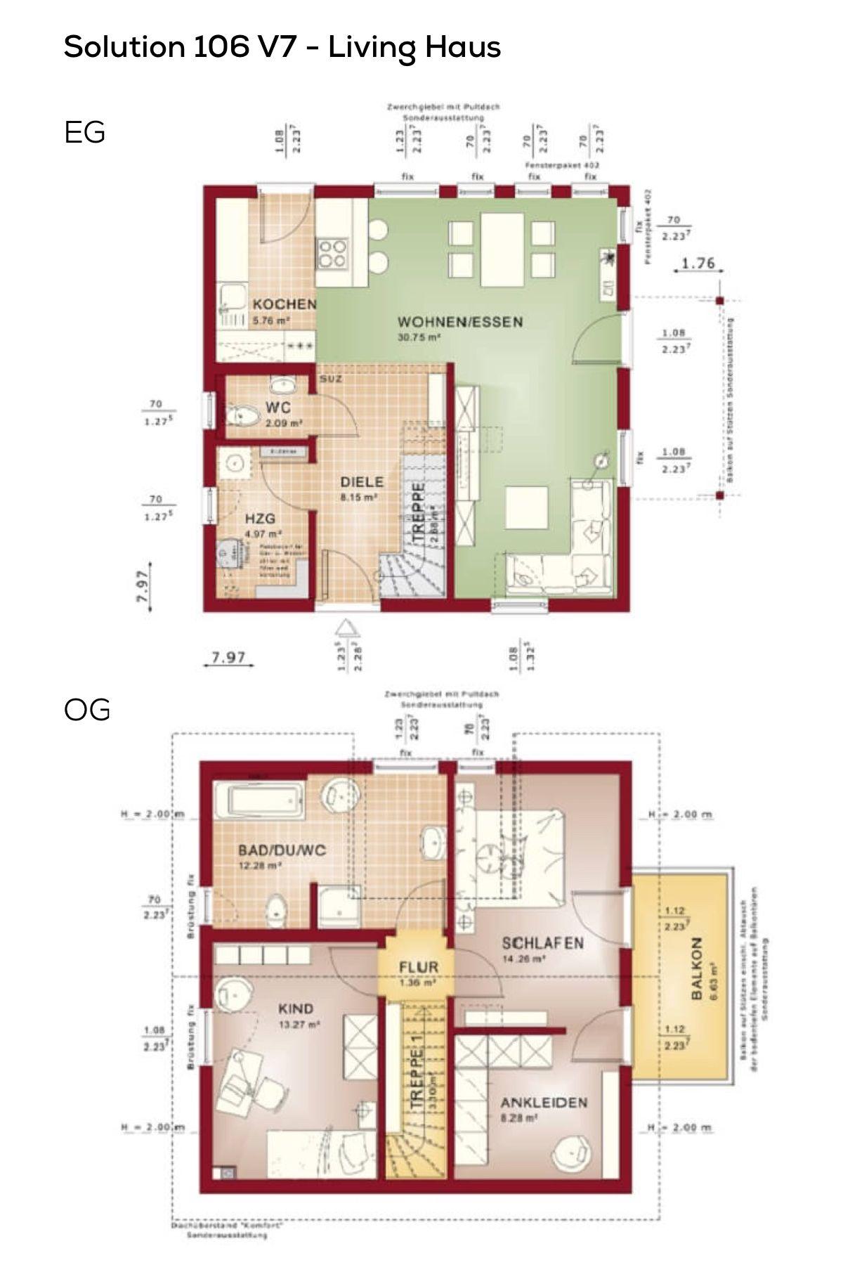 Grundrisse Einfamilienhaus mit Satteldach 3 Zimmer, Haus