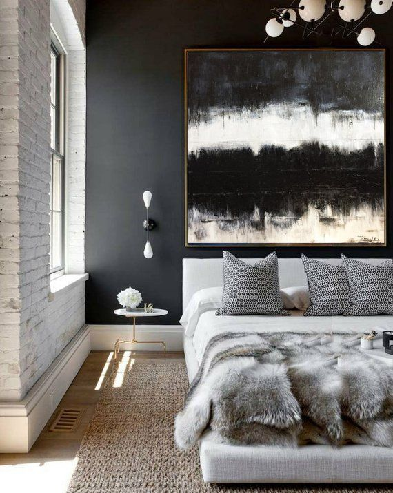 Large Abstract Canvas Black And White Oil Painting Canvas Abstract